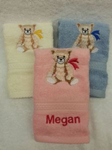 LARGE TEDDY PERSONALISED FACE CLOTH - Bear Teddies